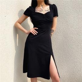 Square Collar Folds Split Dress NSLQ33704