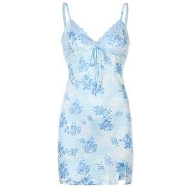 Lace Print Split Satin Suspender Skirt NSLQ33728