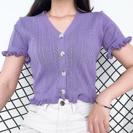 Fashion V-neck Button Knitted T-shirt NSLQ33729