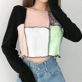 Fashion Splicing Long-sleeved T-shirt  NSLQ33753