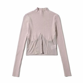 Solid Color Mesh Stitching Knit Sweater  NSLD33768