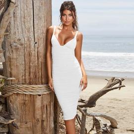V-neck Mid-length Pleated Dress NSZY33773