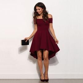 Off-shoulder Big Swing Short-sleeved Dress  NSOY33783