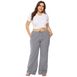 Large Size Loose Pocket Mid-waist Flared Pants  NSOY33786