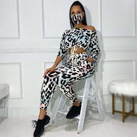 Smudge Leopard Print Long-sleeved Casual Set NSME33788