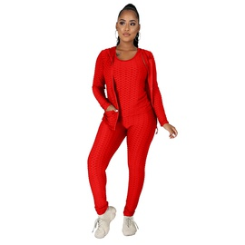 Hooded Zipper Sweatershirt Yoga Pants Three-piece NSME33798