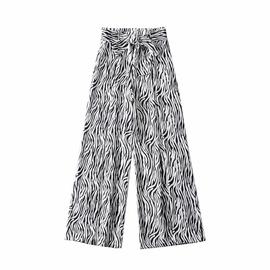 Zebra Pattern Wide Leg Paperbag Pants NSAC33812