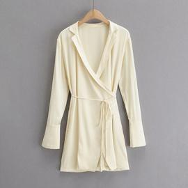 Lace-up Suit Collar Shirt Dress NSAC33813