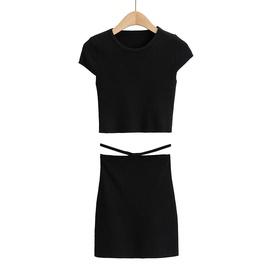 Round Neck T-Shirt High Waist Hollow Pocket Skirt Set NSAC33816