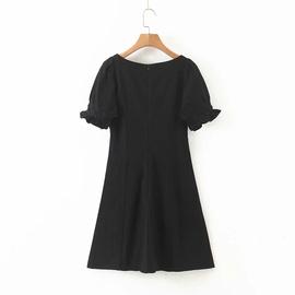 Square Neck Puff Sleeve Black Evening Dress NSAC33821