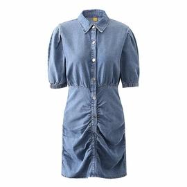 Elastic Waist Pleated Denim Shirt Dress NSAC33822