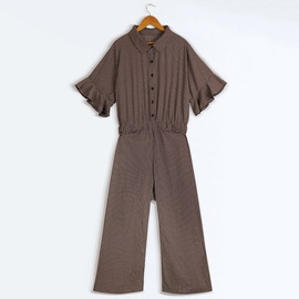 Fashion Printing Single-breasted Casual Short-sleeved Jumpsuit  NSJR30283