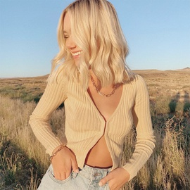 Fashion Spring And Summer Solid Color Cropped Long-sleeved Ribbed Hook Short Blouse  NSMX30376