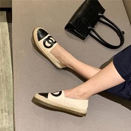 Linen Color Matching Flat-bottomed Fisherman Shoes NSHU33849