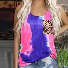 New Style Round Neck Tie-dye Leopard Print Sleeveless Top  NSSI33876
