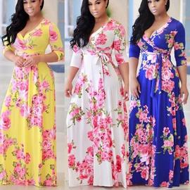 V-neck Big Swing Print Dress  NSKX33901