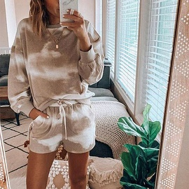 Autumn Tie-dye Printing Casual Long-sleeved Shorts Home Set NSZH33906