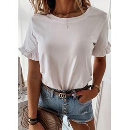 Solid Color Ruffled Round Neck T-shirt  NSZH33910