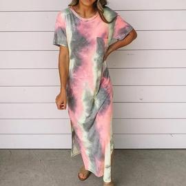 Tie-dye Printing Slit Long Dress NSZH33918