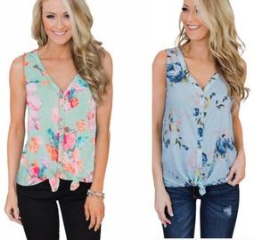 Fashion Printing V-neck Top  NSYF33923