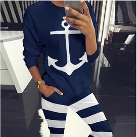 Fashion Striped Anchor Print Round Neck Sports Suit NSYF33926