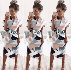 V-neck Square Print Mid-length Dress NSYF33929
