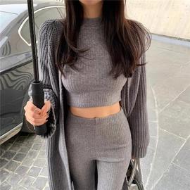Slim Knit Sweater High Waist Slim Flared Pants Set NSLD33935
