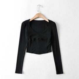 Sexy Stitching Elastic Bottoming Shirt  NSHS31015
