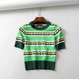Simple Short-sleeved Striped Bottoming Sweater  NSHS31452