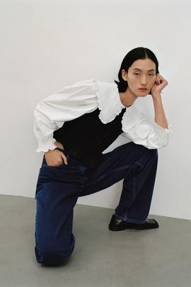 Fashion Doll Collar Stitching Blouse  NSAM33960