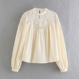 Mesh Embroidery Stitching Long Sleeve Blouse NSAM33961