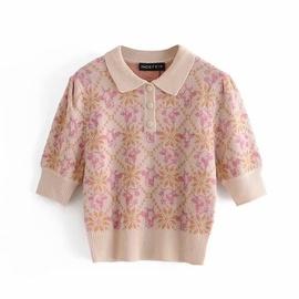 Spring Animal Print Jacquard Short-sleeved Sweater  NSAM33970