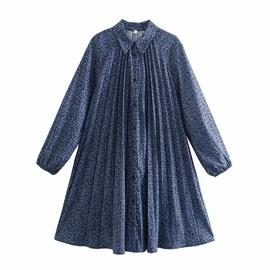 Breasted Print Pleated Shirt Dress NSAM33974