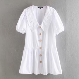 Embossed Lace Embellished Poplin Dress NSAM33981