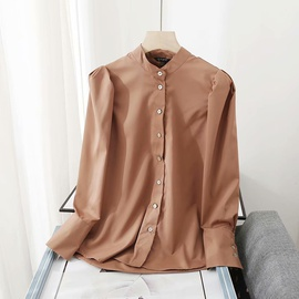 Collar Poplin Puff Sleeve Casual Shirt  NSAM33989