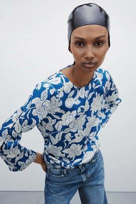 Fashion Print Pleated Design Satin Blouse  NSAM34015