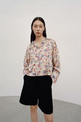 Fashion Lapel Print Short Blouse  NSAM34024