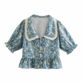 Lace Side Doll Collar Puff Sleeve Short Top NSAM34029
