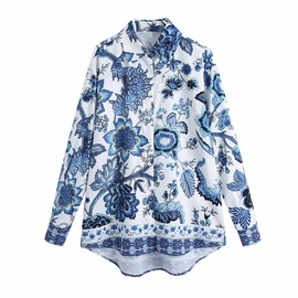 Blue And White Porcelain Printed Blouse Top  NSAM34034