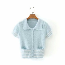 New Lapel Double Pocket Waist Short-sleeved Knitted Top  NSAM34037