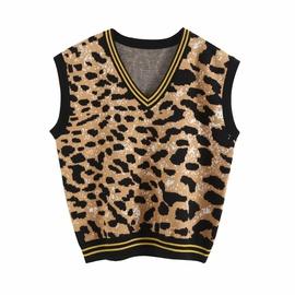 Fashion Loose Wild Leopard Knit Vest  NSAC34038