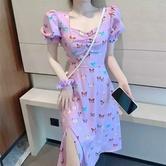 Vestido De Manga Abullonada Con Estampado De Mariposas Temperamento NSAC34040