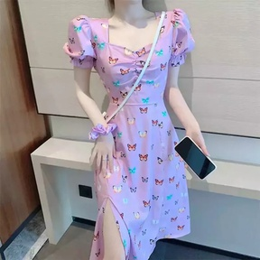 Temperament Butterfly Print Puff Sleeve Dress NSAC34040