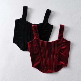 Fashion Short Velvet Waist Strap Vest   NSAC34043