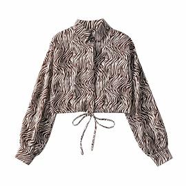 Zebra Print Buttoned High-waist Short Shirt  NSAC34049