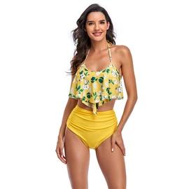 Lotus Leaf Split High Waist Bikini Swimsuit  NSHL34104