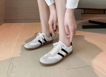 Running Lace Casual Thick Bottom White Shoes  NSCA34148