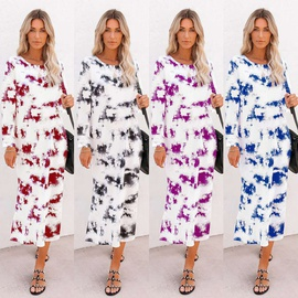 Tie-dye Printed Round Neck Long Sleeves Dress  NSLZ34166