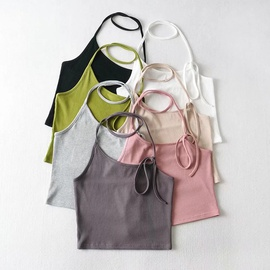 Fashion Round Neck Lace-up Hanging Neck Vest NSHS34170