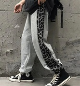 Leopard Pattern Stitching Beam Foot Guard Pants  NSHS25278